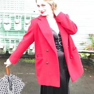 Vintage Red Wool Pea Coat Blazer